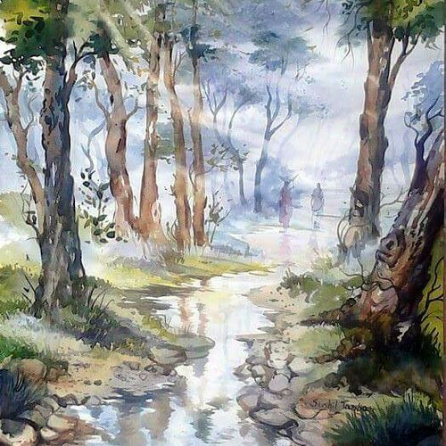 water shade , 15 x 24 inch, sushil  tarbar ,landscape paintings,paintings for office,fabriano sheet,watercolor,15x24inch,GAL0144404