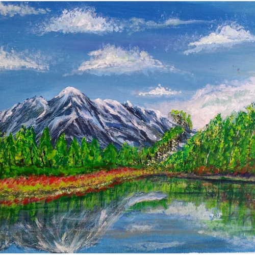 beautiful landscape water reflection, 20 x 16 inch, sameeulla shaik,20x16inch,canvas,paintings,landscape paintings,paintings for dining room,paintings for living room,paintings for bedroom,paintings for office,paintings for bathroom,paintings for kids room,paintings for hotel,paintings for school,acrylic color,GAL02859640400