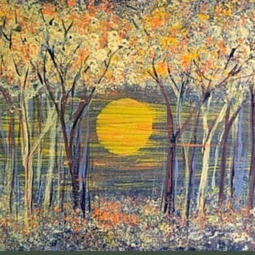 autumn trees in the evening, 12 x 10 inch, sameeulla shaik,12x10inch,canvas,paintings,landscape paintings,paintings for dining room,paintings for living room,paintings for bedroom,paintings for office,paintings for hotel,paintings for school,acrylic color,GAL02859640403