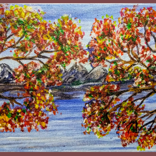 autumn trees in the evening 2, 10 x 6 inch, sameeulla shaik,10x6inch,canvas,paintings,landscape paintings,nature paintings   scenery paintings,paintings for dining room,paintings for living room,paintings for bedroom,paintings for office,paintings for kids room,paintings for hotel,paintings for school,acrylic color,GAL02859640404