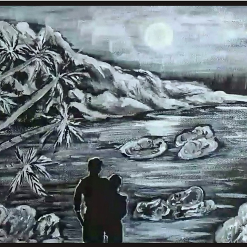 black & white landscape - couple watching moon night, 12 x 10 inch, sameeulla shaik,12x10inch,canvas,paintings,landscape paintings,nature paintings | scenery paintings,paintings for dining room,paintings for living room,paintings for bedroom,paintings for office,paintings for bathroom,paintings for kids room,paintings for hotel,paintings for school,acrylic color,GAL02859640405