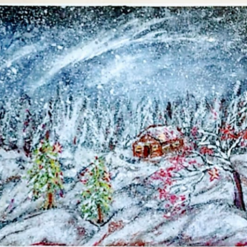 winter night snowfall , 12 x 10 inch, sameeulla shaik,12x10inch,canvas,paintings,landscape paintings,nature paintings | scenery paintings,paintings for dining room,paintings for living room,paintings for bedroom,paintings for office,paintings for kids room,paintings for hotel,paintings for school,acrylic color,GAL02859640406