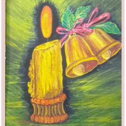 candle and bells , 10 x 12 inch, sameeulla shaik,10x12inch,canvas,paintings,conceptual paintings,religious paintings,paintings for dining room,paintings for living room,paintings for office,paintings for kids room,paintings for hotel,paintings for school,acrylic color,GAL02859640407