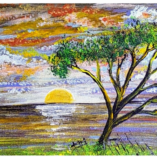 multicolored cloudy sky at sunset, 12 x 8 inch, sameeulla shaik,12x8inch,canvas,paintings,landscape paintings,nature paintings   scenery paintings,paintings for dining room,paintings for living room,paintings for bedroom,paintings for office,paintings for bathroom,paintings for kids room,paintings for hotel,paintings for school,acrylic color,GAL02859640410