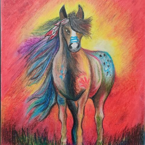 the horse, 8 x 11 inch, dr. brinda c,8x11inch,drawing paper,paintings,wildlife paintings,nature paintings | scenery paintings,art deco paintings,animal paintings,horse paintings,paintings for dining room,paintings for living room,paintings for bedroom,paintings for office,paintings for kids room,paintings for hotel,pastel color,paper,GAL01371540414
