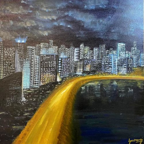 mumbai cityscape city lights deep surreal reflection in water mellow, 24 x 24 inch, gaurangi gupta,24x24inch,canvas,paintings,cityscape paintings,landscape paintings,modern art paintings,conceptual paintings,still life paintings,nature paintings | scenery paintings,street art,surrealism paintings,paintings for dining room,paintings for living room,paintings for bedroom,paintings for office,paintings for kids room,paintings for hotel,paintings for kitchen,paintings for school,paintings for hospital,acrylic color,GAL02814640419
