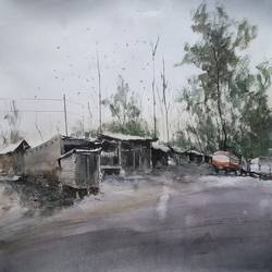 passing the highway, 16 x 12 inch, soyli saha,16x12inch,fabriano sheet,paintings,street art,paintings for dining room,paintings for living room,paintings for bedroom,paintings for office,paintings for kids room,paintings for hotel,paintings for school,paintings for hospital,watercolor,GAL0606540422