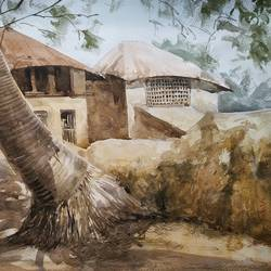 a village , 16 x 12 inch, soyli saha,16x12inch,fabriano sheet,paintings,landscape paintings,paintings for dining room,paintings for living room,paintings for bedroom,paintings for office,paintings for bathroom,paintings for kids room,paintings for hotel,paintings for kitchen,paintings for school,paintings for hospital,watercolor,GAL0606540423