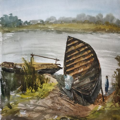 sick boat, 13 x 11 inch, soyli saha,13x11inch,cartridge paper,paintings,realistic paintings,paintings for dining room,paintings for living room,paintings for bedroom,paintings for office,paintings for bathroom,paintings for kids room,paintings for hotel,paintings for kitchen,paintings for school,paintings for hospital,watercolor,GAL0606540427