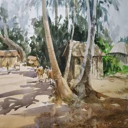 hide tree, 13 x 11 inch, soyli saha,13x11inch,cartridge paper,paintings,nature paintings | scenery paintings,paintings for dining room,paintings for living room,paintings for bedroom,paintings for office,paintings for bathroom,paintings for kids room,paintings for hotel,paintings for kitchen,paintings for school,paintings for hospital,watercolor,GAL0606540428