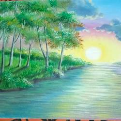 sunset landscape , 18 x 14 inch, priya ranjan patro,18x14inch,canvas board,paintings,paintings for living room,oil color,GAL0971640431