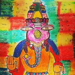 colourful ganesha, 8 x 6 inch, aditi chaturvedi,8x6inch,thick paper,paintings for dining room,paintings for living room,paintings for bedroom,paintings for office,ganesha drawings,paintings for dining room,paintings for living room,paintings for bedroom,paintings for office,pastel color,GAL02855240434