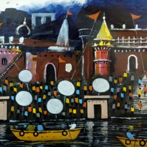 the landscape of banaras ii, 11 x 7 inch, girish chandra vidyaratna,11x7inch,paper,paintings,landscape paintings,modern art paintings,religious paintings,paintings for living room,acrylic color,GAL03640437