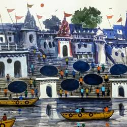 ghats of banaras, 11 x 7 inch, girish chandra vidyaratna,11x7inch,paper,paintings,landscape paintings,modern art paintings,religious paintings,paintings for living room,watercolor,GAL03640440