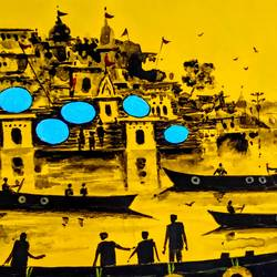 banaras 2019 - viii, 9 x 7 inch, girish chandra vidyaratna,9x7inch,paper,paintings,landscape paintings,modern art paintings,religious paintings,paintings for living room,acrylic color,GAL03640447