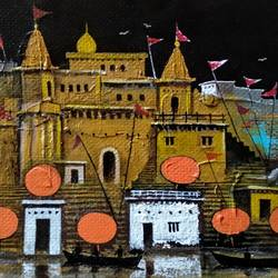beauty of varanasi ghats, 11 x 7 inch, girish chandra vidyaratna,11x7inch,paper,paintings,landscape paintings,modern art paintings,religious paintings,paintings for living room,acrylic color,GAL03640448