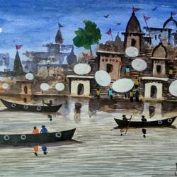 the moon light ( varanasi ghats ), 11 x 7 inch, girish chandra vidyaratna,11x7inch,paper,paintings,landscape paintings,modern art paintings,religious paintings,paintings for living room,watercolor,GAL03640449