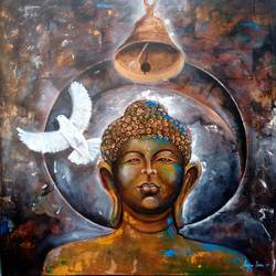 peace of buddha, 36 x 36 inch, arjun das,buddha paintings,paintings for bedroom,religious paintings,canvas,acrylic color,36x36inch,GAL01124045