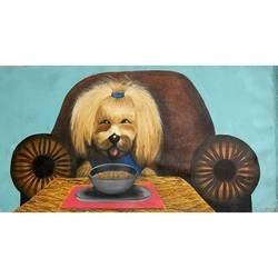 happy shitzu breed dog eating noodles pampered lux popular , 37 x 20 inch, gaurangi gupta,37x20inch,canvas,paintings,art deco paintings,illustration paintings,impressionist paintings,pop art paintings,realism paintings,animal paintings,dog painting,paintings for dining room,paintings for living room,paintings for bedroom,paintings for office,paintings for bathroom,paintings for kids room,paintings for hotel,paintings for kitchen,paintings for school,paintings for hospital,acrylic color,GAL02814640453