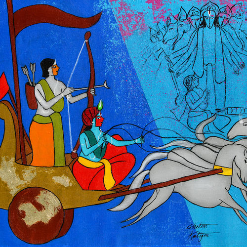 krishna and arjuna, 21 x 16 inch, chetan katigar,21x16inch,canvas,paintings,abstract paintings,figurative paintings,flower paintings,folk art paintings,modern art paintings,multi piece paintings,conceptual paintings,religious paintings,still life paintings,nature paintings | scenery paintings,abstract expressionism paintings,art deco paintings,expressionism paintings,impressionist paintings,realism paintings,radha krishna paintings,contemporary paintings,realistic paintings,love paintings,horse paintings,paintings for dining room,paintings for living room,paintings for bedroom,paintings for office,paintings for bathroom,paintings for kids room,paintings for hotel,paintings for kitchen,acrylic color,GAL026640455