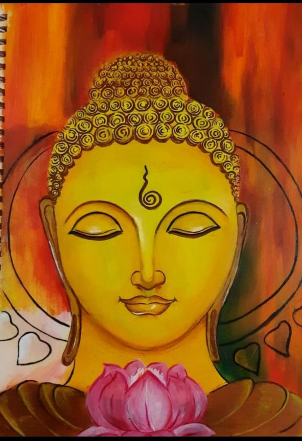 budha smiling, 11 x 16 inch, kamakshi kannan,11x16inch,paper,paintings,buddha paintings,paintings for living room,poster color,GAL02860640458