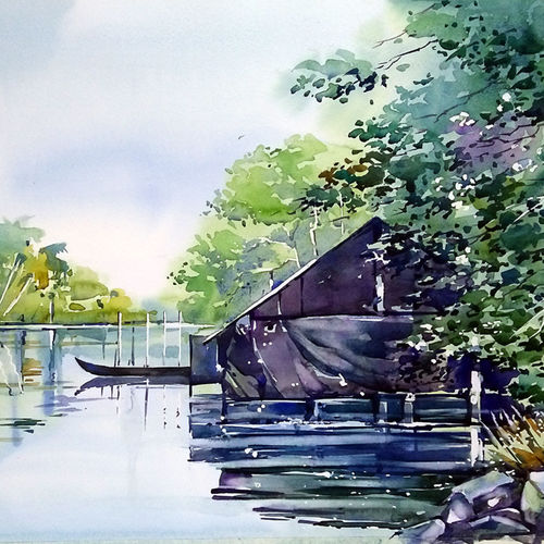 boat house, 21 x 15 inch, raji p,21x15inch,canson paper,paintings,landscape paintings,nature paintings | scenery paintings,impressionist paintings,paintings for dining room,paintings for living room,paintings for bedroom,paintings for office,paintings for bathroom,paintings for kids room,paintings for hotel,paintings for school,paintings for hospital,watercolor,GAL059040459
