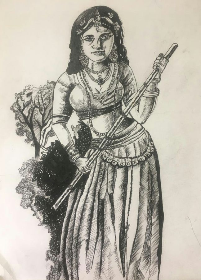 village lady, 11 x 16 inch, kamakshi kannan,11x16inch,paper,drawings,figurative drawings,paintings for living room,ball point pen,GAL02860640462