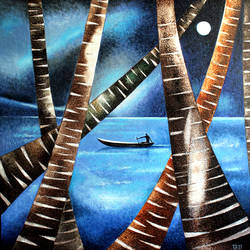 the night traveler., 24 x 24 inch, raji p,24x24inch,canvas,paintings,abstract paintings,figurative paintings,landscape paintings,modern art paintings,conceptual paintings,nature paintings | scenery paintings,contemporary paintings,paintings for dining room,paintings for living room,paintings for bedroom,paintings for office,paintings for kids room,paintings for hotel,paintings for school,paintings for hospital,acrylic color,GAL059040465