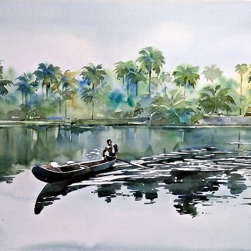 the fisherman, 21 x 15 inch, raji p,21x15inch,canson paper,paintings,figurative paintings,landscape paintings,nature paintings   scenery paintings,impressionist paintings,contemporary paintings,paintings for dining room,paintings for living room,paintings for bedroom,paintings for office,paintings for kids room,paintings for hotel,paintings for kitchen,paintings for school,paintings for hospital,watercolor,GAL059040466