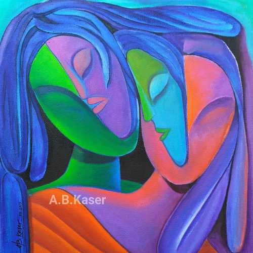 sakhi-saheli, 12 x 14 inch, a.b.  kaser,abstract expressionist paintings,paintings for living room,abstract paintings,vertical,canvas,acrylic color,12x14inch,GAL06364047