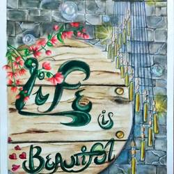 art with a quote, 9 x 12 inch, uma manthira,9x12inch,thick paper,paintings,illustration paintings,pencil color,watercolor,GAL02811940474