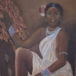 tribal woman, 15 x 24 inch, haimanti bhattacharyya,15x24inch,canvas,figurative paintings,paintings for living room,paintings for living room,oil color,GAL02865440485