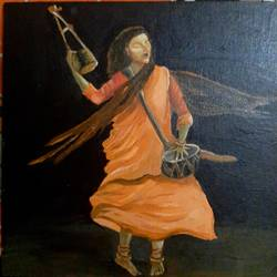 dancing baul, 12 x 12 inch, haimanti bhattacharyya,12x12inch,canvas,paintings,figurative paintings,still life paintings,realism paintings,paintings for dining room,paintings for living room,paintings for bedroom,acrylic color,GAL02865440486