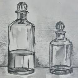 glass bottle, 11 x 12 inch, kamakshi kannan,11x12inch,paper,fine art drawings,graphite pencil,GAL02860640493