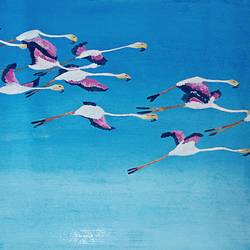flight of flamingos, 16 x 12 inch, maitry dutt,animal paintings,paintings for living room,fabriano sheet,acrylic color,16x12inch,GAL014514050