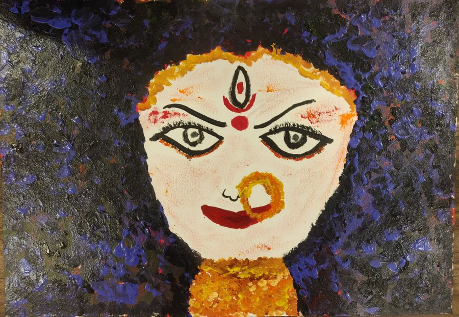 goddess durga, 12 x 10 inch, sindhu  sn,12x10inch,canvas,paintings,conceptual paintings,religious paintings,art deco paintings,paintings for living room,paintings for office,paintings for hotel,acrylic color,GAL02205640504