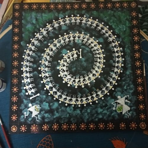 warli painting, 12 x 12 inch, rajalakshmi chandrasekaran,12x12inch,wood board,paintings,warli paintings,paintings for dining room,paintings for living room,paintings for bedroom,wood,GAL02867540511