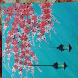 cherry blossom with firelamps, 10 x 10 inch, arshpreet  kaur ,10x10inch,canvas,flower paintings,paintings for dining room,paintings for living room,paintings for bedroom,paintings for office,paintings for dining room,paintings for living room,paintings for bedroom,paintings for office,acrylic color,GAL02869240513