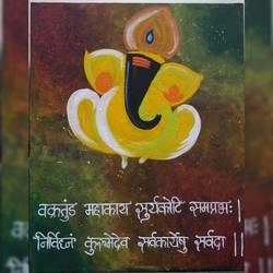 ganapati, 16 x 20 inch, pranali patel,16x20inch,canvas board,paintings,religious paintings,ganesha paintings | lord ganesh paintings,acrylic color,GAL02546140516
