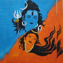 shiv parvati, 16 x 20 inch, pranali patel,16x20inch,canvas board,paintings,religious paintings,lord shiva paintings,acrylic color,GAL02546140517