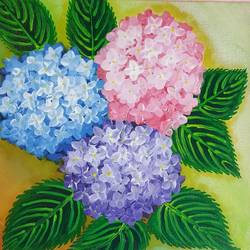 hydrangea flowers, 10 x 10 inch, arshpreet  kaur ,10x10inch,canvas,paintings,flower paintings,multi piece paintings,paintings for dining room,paintings for living room,paintings for bedroom,paintings for office,paintings for hotel,acrylic color,GAL02869240519