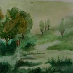 morning in the jungle, 16 x 12 inch, maitry dutt,nature paintings,paintings for dining room,fabriano sheet,watercolor,16x12inch,GAL014514052Nature,environment,Beauty,scenery,greenery