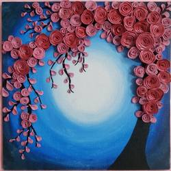 cherry blossom tree, 10 x 10 inch, arshpreet  kaur ,10x10inch,canvas,handicrafts,sculptures,acrylic color,marble,GAL02869240520