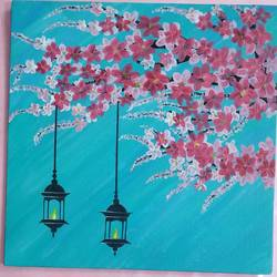 cherry blossom with firelamps, 10 x 10 inch, arshpreet  kaur ,10x10inch,canvas,paintings,flower paintings,art deco paintings,love paintings,paintings for dining room,paintings for living room,paintings for bedroom,paintings for office,paintings for hotel,acrylic color,GAL02869240521