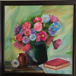 bouquet of colours, 21 x 21 inch, mamta sanwal,21x21inch,canvas,paintings,flower paintings,paintings for office,paintings for hotel,paintings for school,paintings for hospital,oil color,GAL02869540528