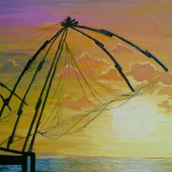 chinese fishing nets of kochi, 14 x 14 inch, maitry dutt,nature paintings,paintings for living room,canvas,oil,14x14inch,GAL014514053Nature,environment,Beauty,scenery,greenery