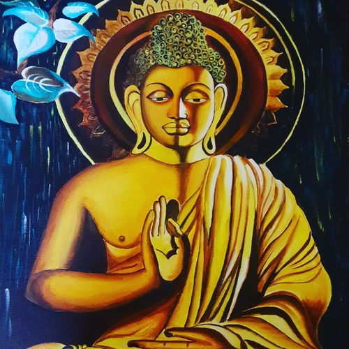 buddha painting, 18 x 24 inch, akshita pillai,18x24inch,canvas,paintings,religious paintings,paintings for living room,acrylic color,GAL01807940535