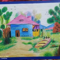 landscape, 17 x 23 inch, arshpreet  kaur ,17x23inch,ivory sheet,paintings,nature paintings | scenery paintings,paintings for dining room,paintings for living room,paintings for bedroom,paintings for office,paintings for hotel,paintings for school,pastel color,GAL02869240537