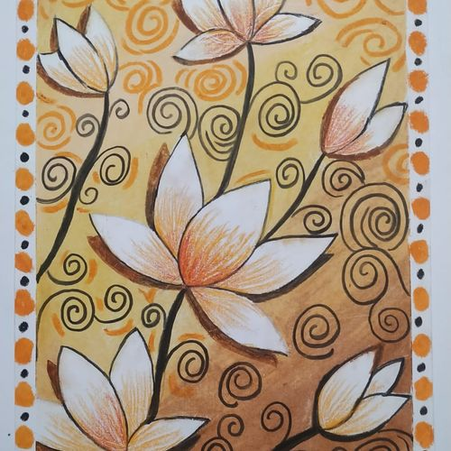 lotus flowers, 8 x 12 inch, arshpreet  kaur ,8x12inch,ivory sheet,paintings,abstract paintings,flower paintings,folk art paintings,modern art paintings,paintings for dining room,paintings for living room,paintings for bedroom,paintings for office,paintings for hotel,paintings for kitchen,paintings for school,paintings for hospital,oil color,pastel color,GAL02869240538