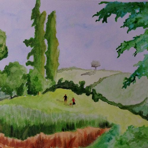 boys playing in a field, 16 x 12 inch, maitry dutt,landscape paintings,paintings for living room,renaissance watercolor paper,watercolor,16x12inch,GAL014514054